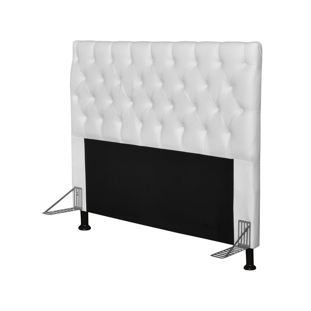 Cabeceira Cama Box Casal Queen 160cm Cristal Corino Branco - JS Móveis