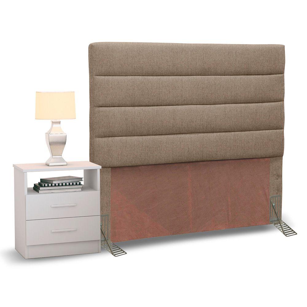 Cabeceira Cama Box Solteiro 90cm Greta Linho e 1 Mesa de Cabeceira Flex DM1 Branco - Mpozenato