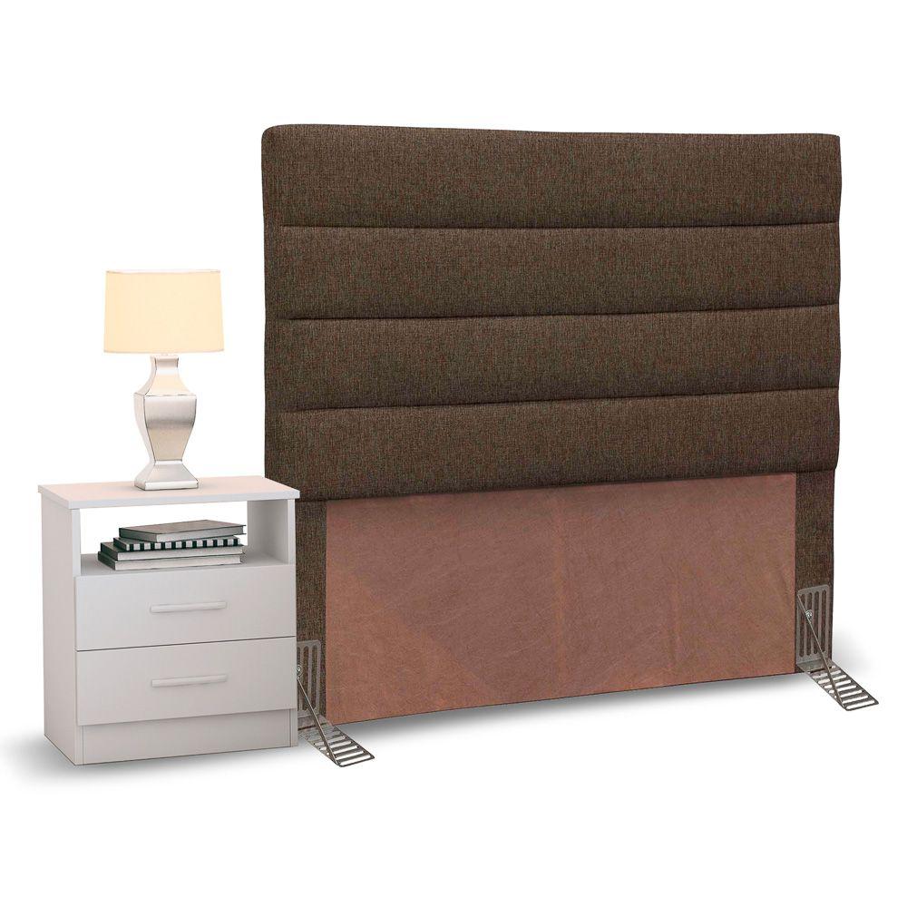 Cabeceira Cama Box Solteiro 90cm Greta Linho e 1 Mesa de Cabeceira AD1 Branco - Mpozenato