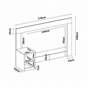 Cabeceira Casal para Box 138 cm com 01 Mesa de Cabeceira London Ébano - Demóbile