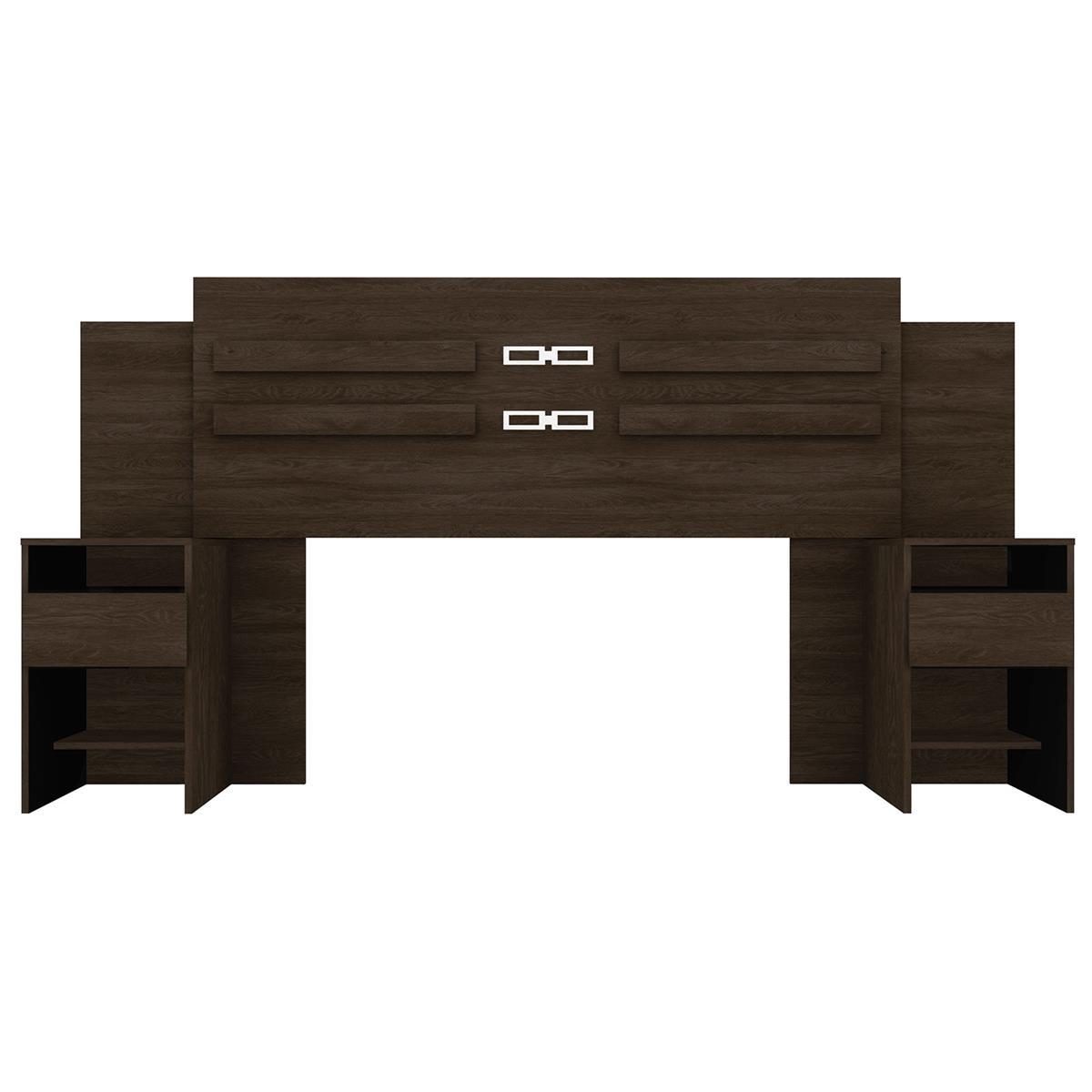Cabeceira com 02 Mesas de Cabeceira Acoplados para Box de 140 e 160cm Triunfo Ébano - Demóbile