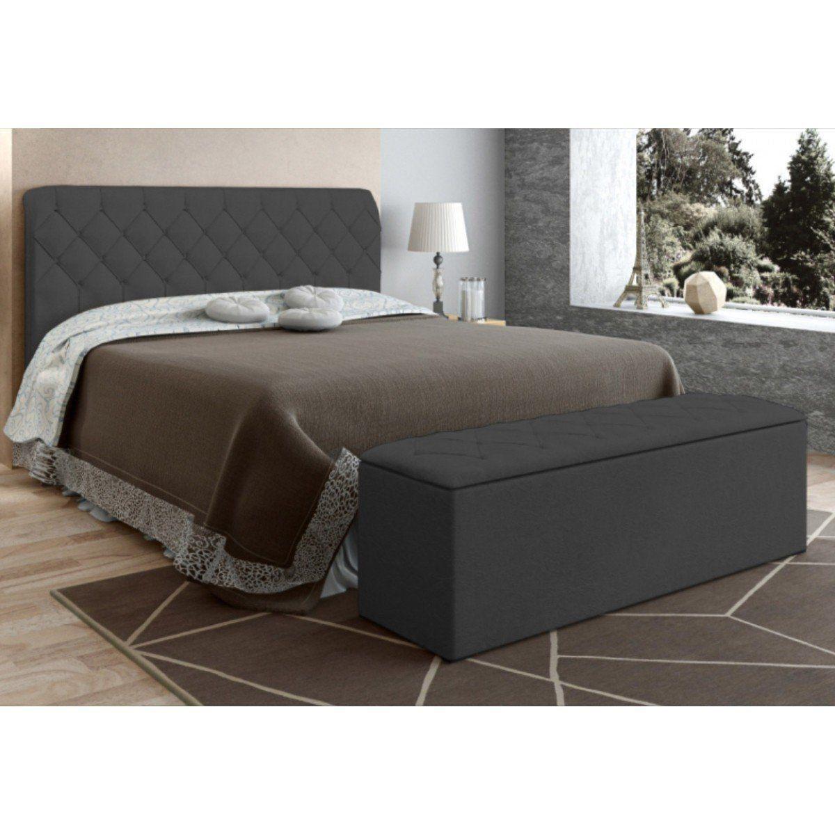 Cabeceira com Calçadeira Baú Para Colchão Box de 140 cm Paris - JS Móveis