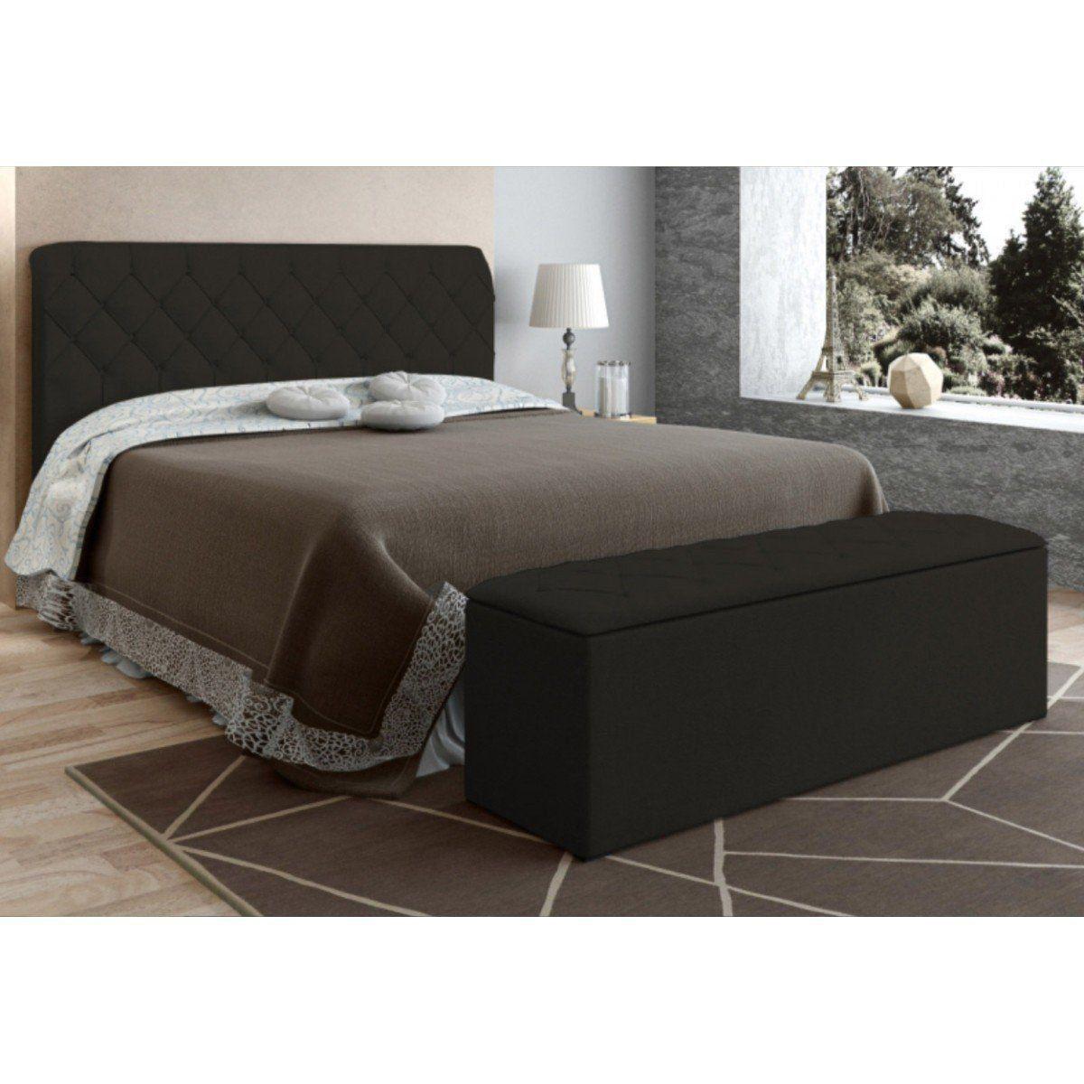 Cabeceira com Calçadeira Baú Para Colchão Box de 160 cm Paris - JS Móveis