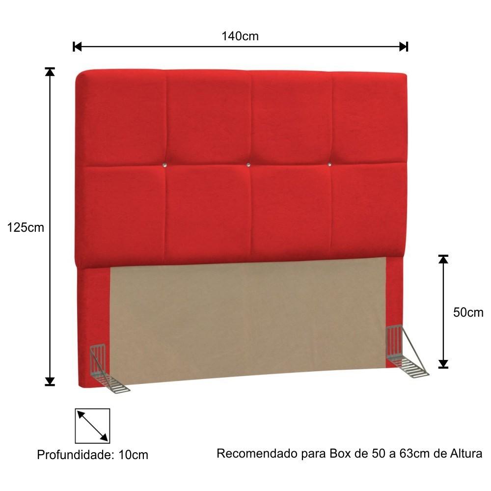 Cabeceira Quarto Casal 140cm Vênus Corano Vermelho - D'Monegatto