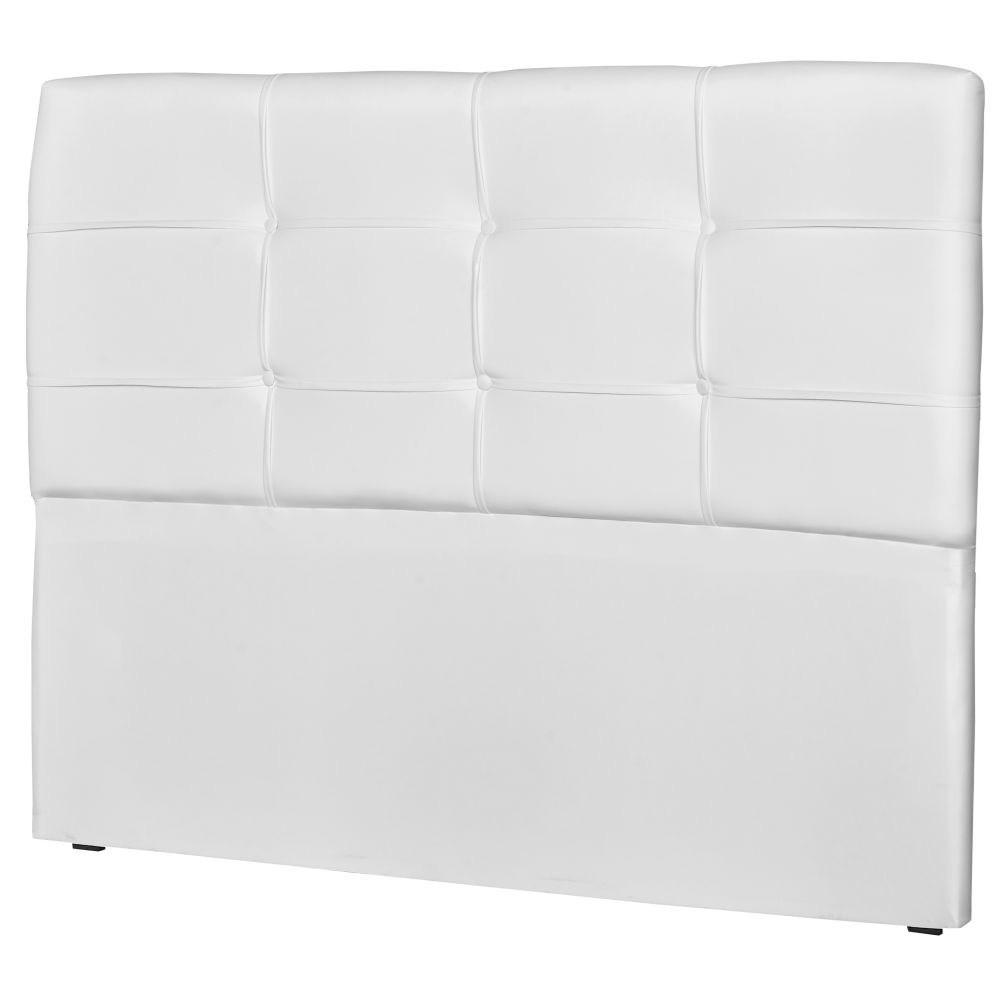 Cabeceira Quarto Casal Cama Box 140cm London Corino Branco - JS Móveis