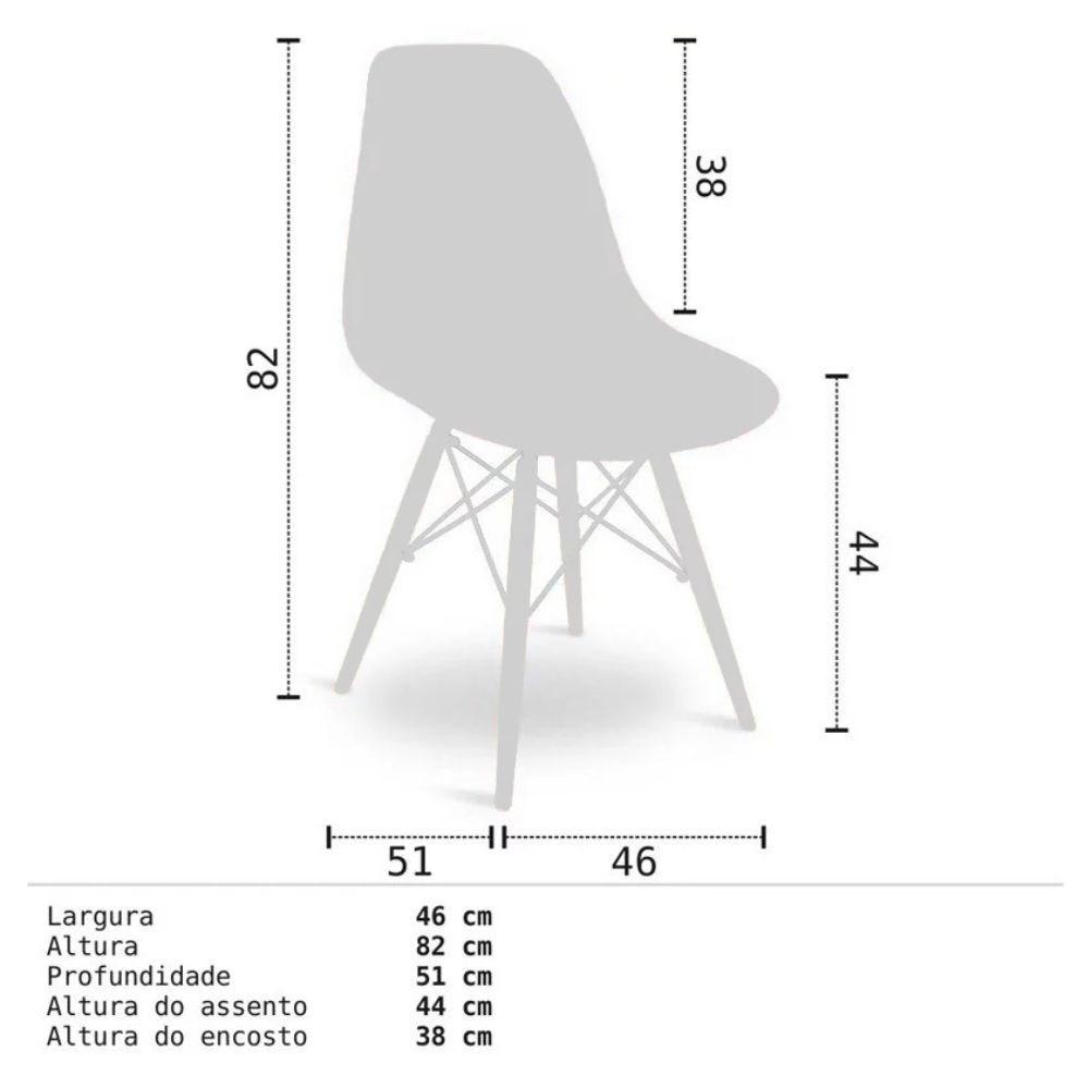 Cadeira Eiffel Charles Eames Preta com Base de Madeira DSW