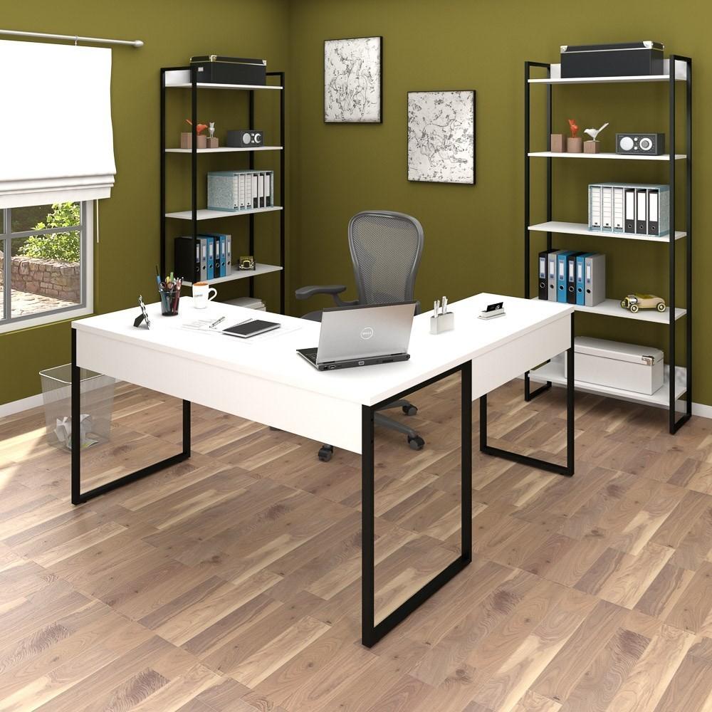 Conjunto Escritório 3 peças 1 Mesa em L e 2 Estantes Studio Industrial M18 Branco - Mpozenato