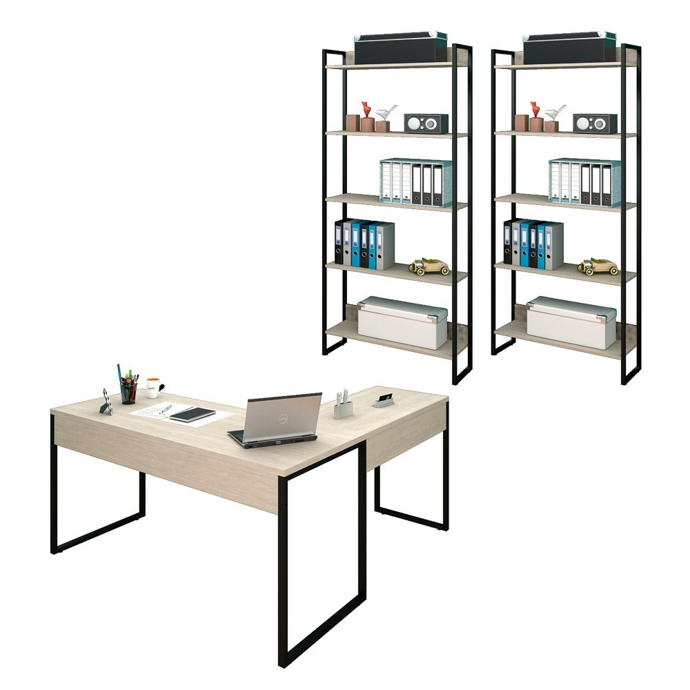 Conjunto Escritório 3 peças 1 Mesa em L e 2 Estantes Studio Industrial M18 Carvalho Bruma - Mpozenato