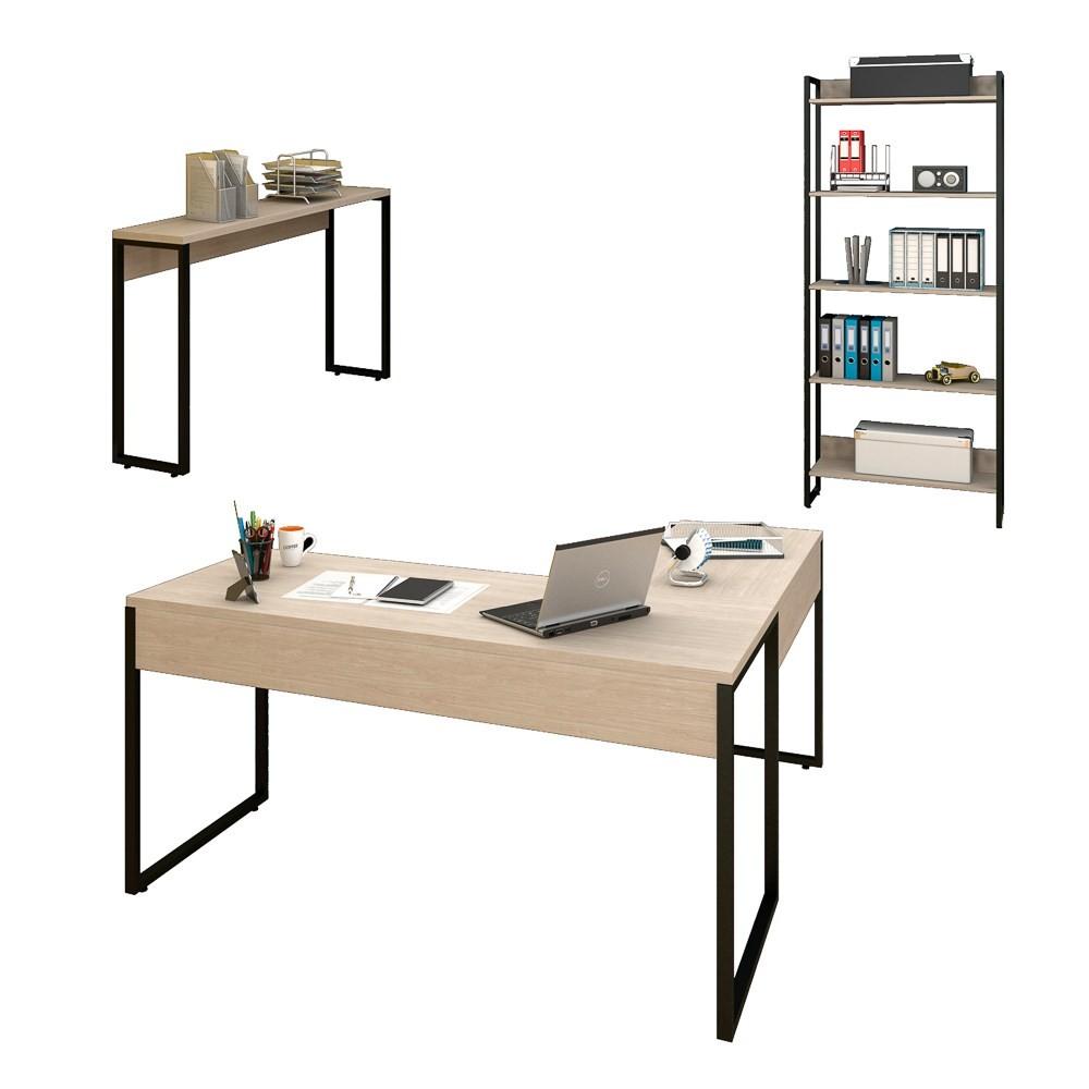 Conjunto Escritório 3 peças Mesa em L Estante e Aparador Studio Industrial M18 Carvalho Bruma - Mpozenato