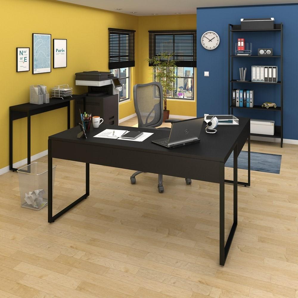 Conjunto Escritório 3 peças Mesa em L Estante e Aparador Studio Industrial M18 Preto - Mpozenato
