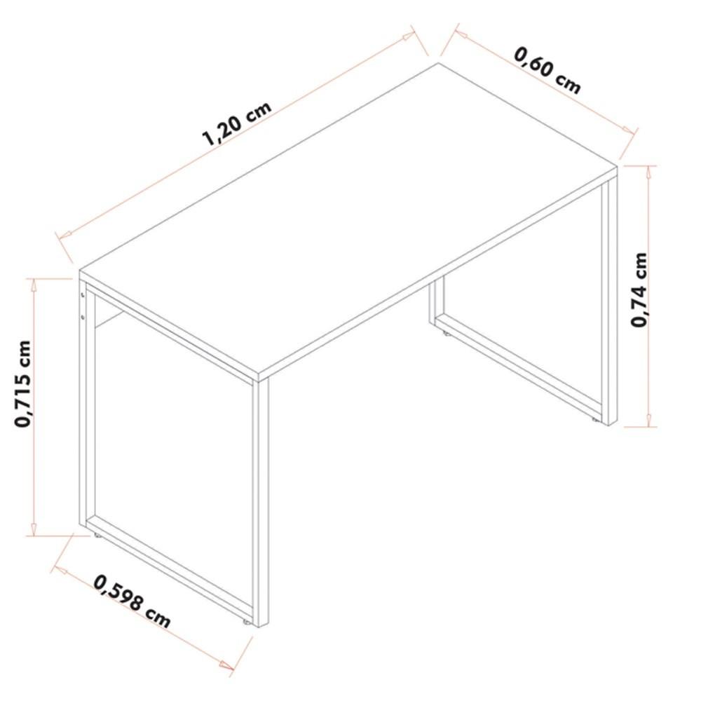 Conjunto Escritório Mesa 120 Aparador e Estante Studio Industrial M18 Preto - Mpozenato