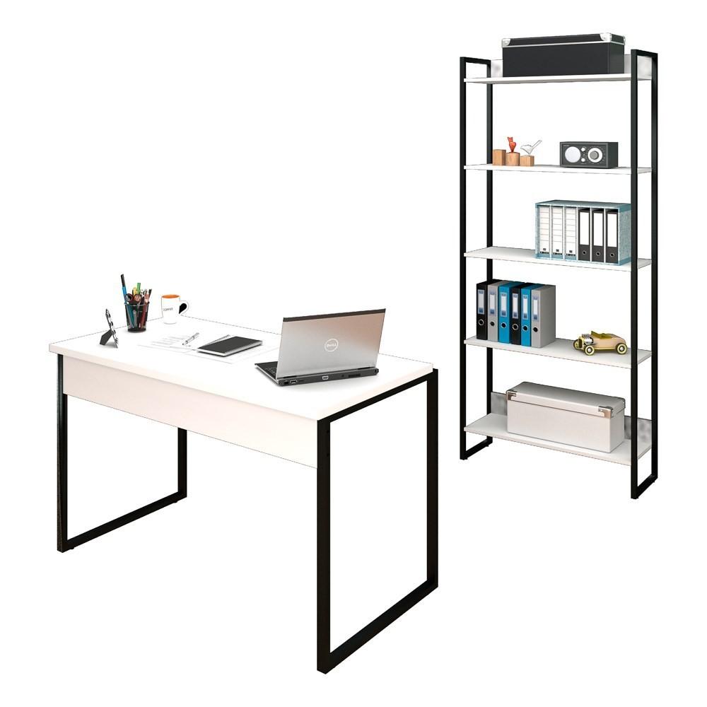 Conjunto Escritório Mesa 120 e Estante Studio Industrial M18 Branco - Mpozenato