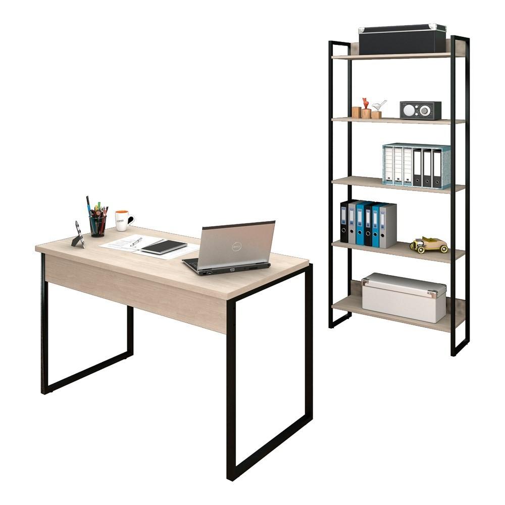 Conjunto Escritório Mesa 120 e Estante Studio Industrial M18 Carvalho Bruma - Mpozenato
