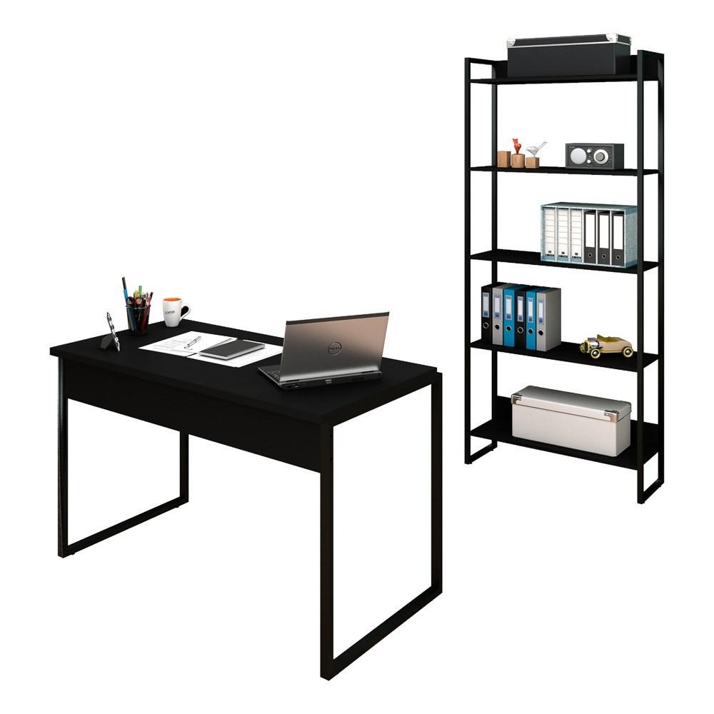 Conjunto Escritório Mesa 120 e Estante Studio Industrial M18 Preto - Mpozenato