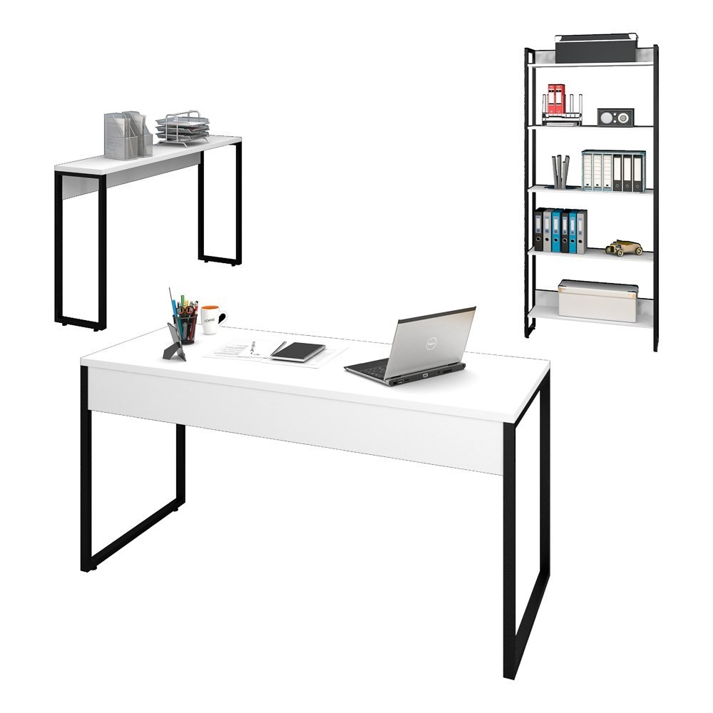 Conjunto Escritório Mesa 150 Aparador e Estante Studio Industrial M18 Branco - Mpozenato