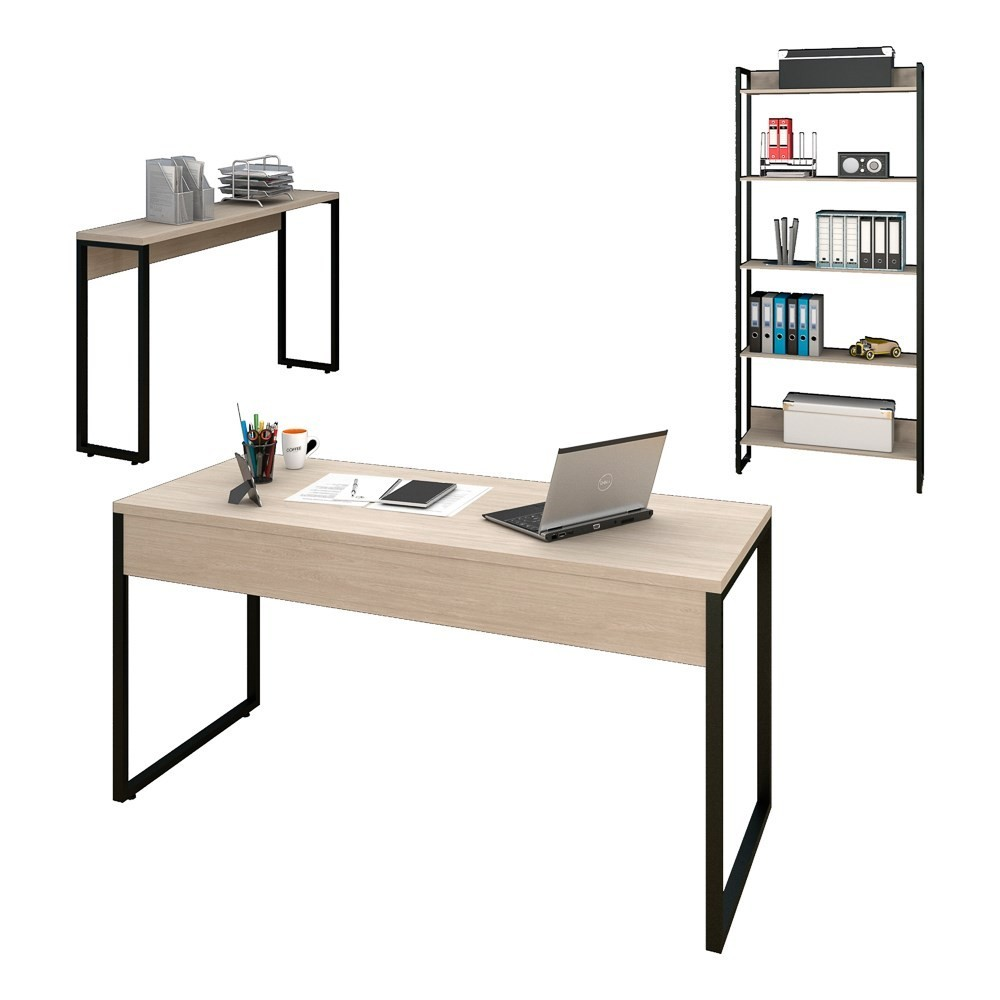 Conjunto Escritório Mesa 150 Aparador e Estante Studio Industrial M18 Carvalho Bruma - Mpozenato