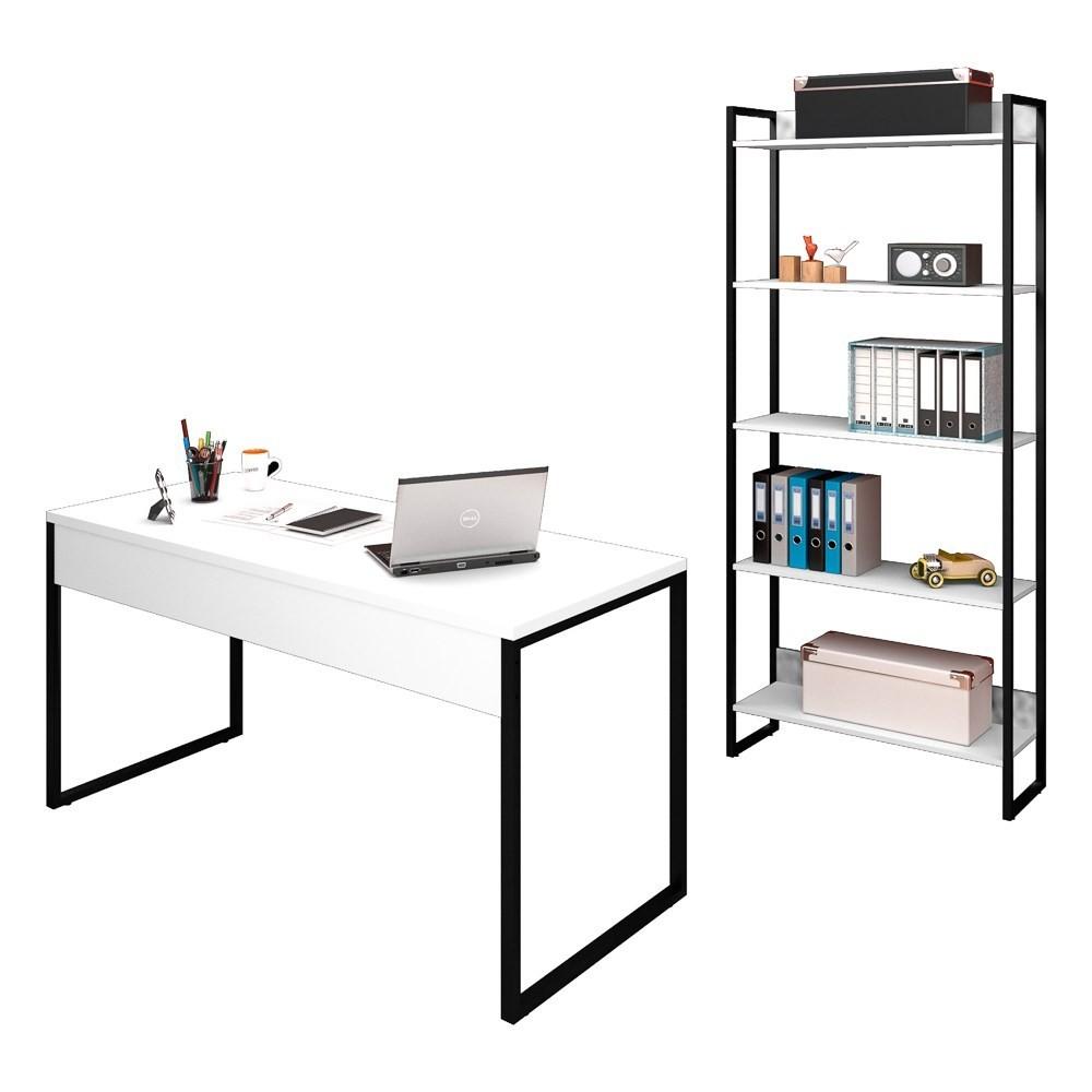 Conjunto Escritório Mesa 150 e Estante Studio Industrial M18 Branco - Mpozenato