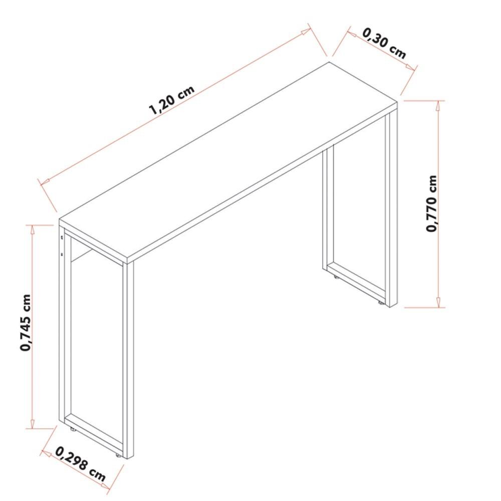 Conjunto Escritório Mesa 90 Aparador e Estante Studio Industrial M18 Branco- Mpozenato