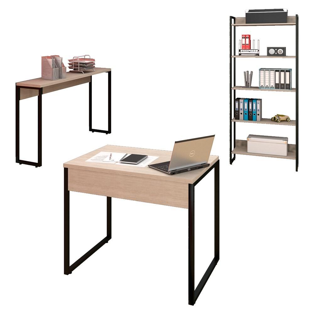Conjunto Escritório Mesa 90 Aparador e Estante Studio Industrial M18 Carvalho Bruma - Mpozenato