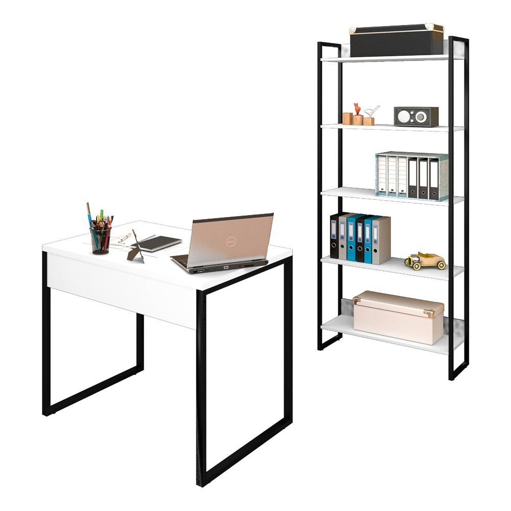 Conjunto Escritório Mesa 90 e Estante Studio Industrial M18 Branco - Mpozenato