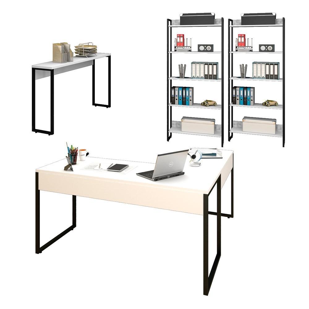 Conjunto Escritório Mesa em L Aparador e 2 Estantes Studio Industrial M18 Branco - Mpozenato