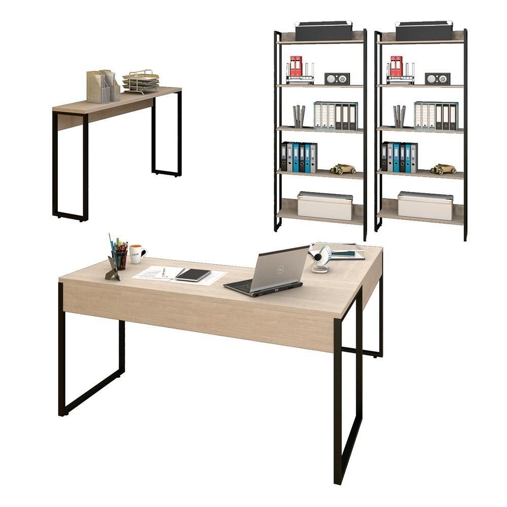 Conjunto Escritório Mesa em L Aparador e 2 Estantes Studio Industrial M18 Carvalho Bruma - Mpozenato