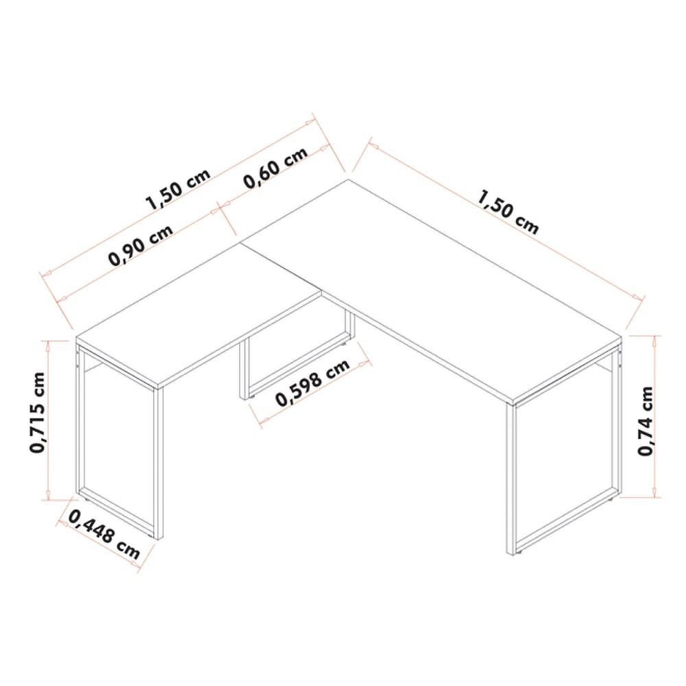 Conjunto Escritório Mesa em L Aparador e 2 Estantes Studio Industrial M18 Preto - Mpozenato