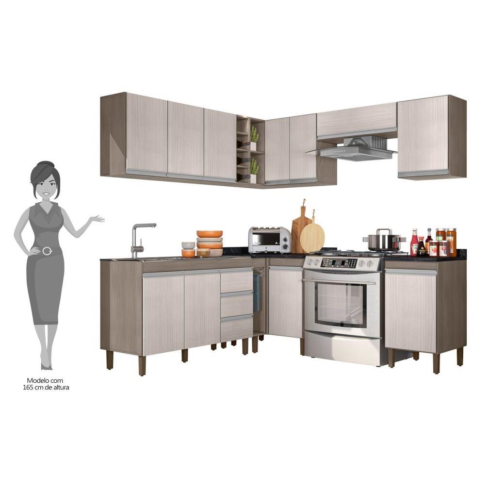 Cozinha Modulada Karen 10 Módulos 5600 P14 Malbec/Avelã - Mpozenato