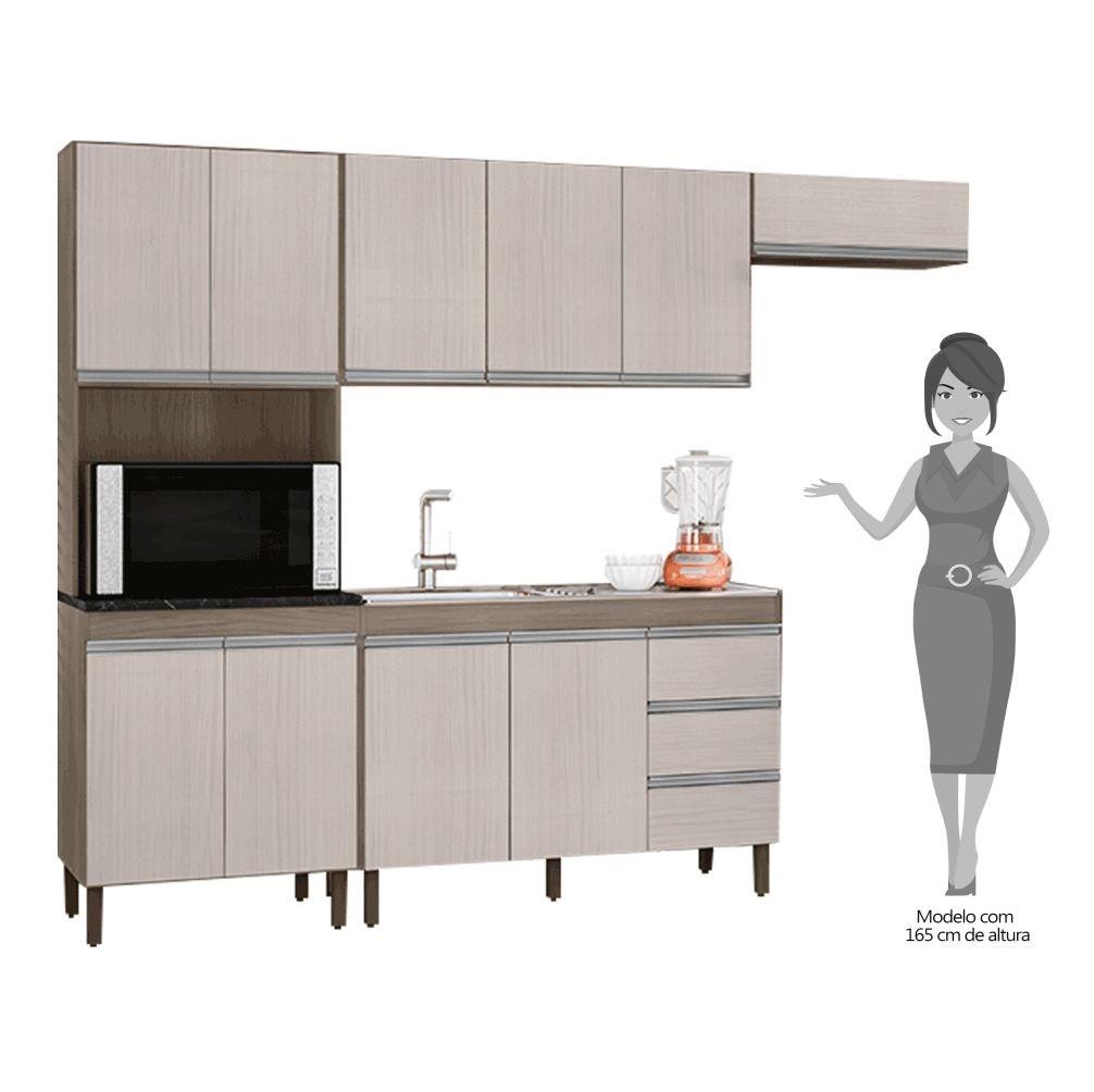 Cozinha Modulada Karen 4 Módulos 7400 P14 Malbec/Avelã - Mpozenato