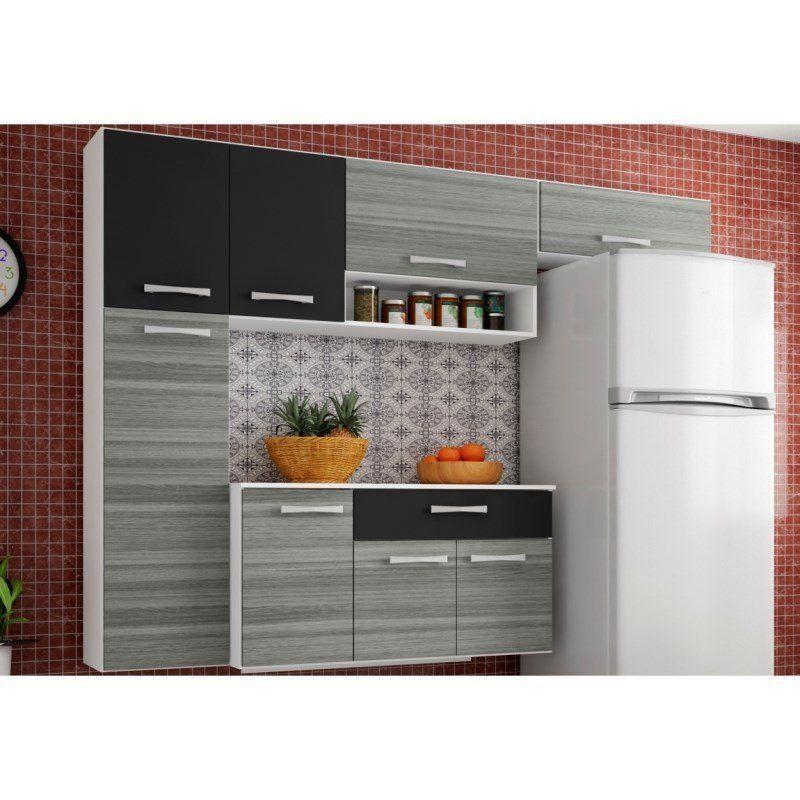 Cozinha Suspensa Compacta com Balcão Anita 08 Portas - Poquema