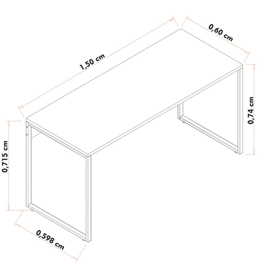 Escrivaninha Mesa de Escritório Studio Industrial 150 M18 Branco - Mpozenato