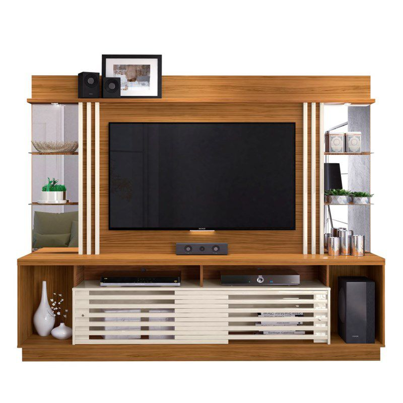 Estante Home Theater Para TV até 55 Pol. Frizz Gold 2 Portas - Madetec