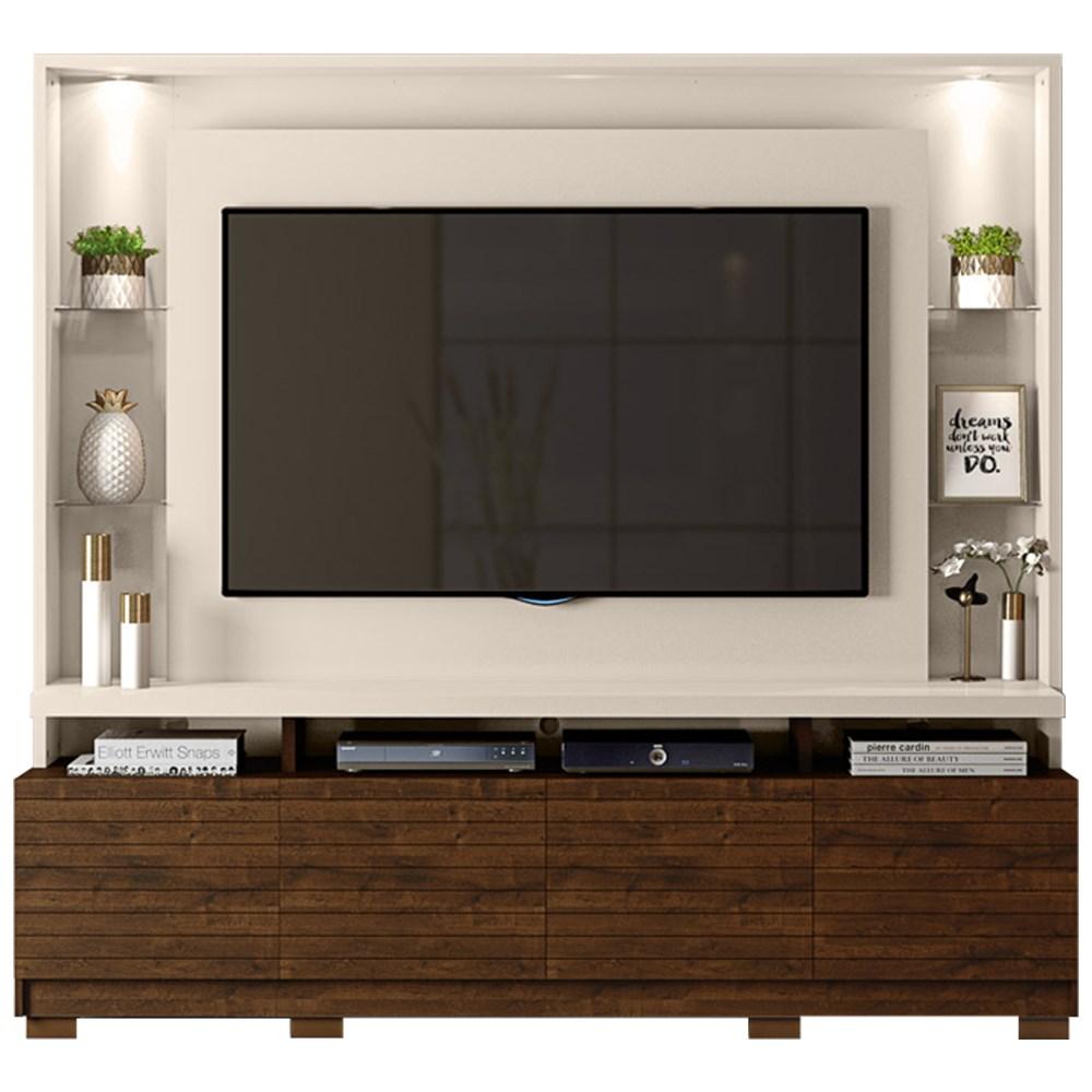 Estante Home Theather para TV até 60 Pol. com LED 8 Pés Acácia Creme/Trufa - Dj Móveis