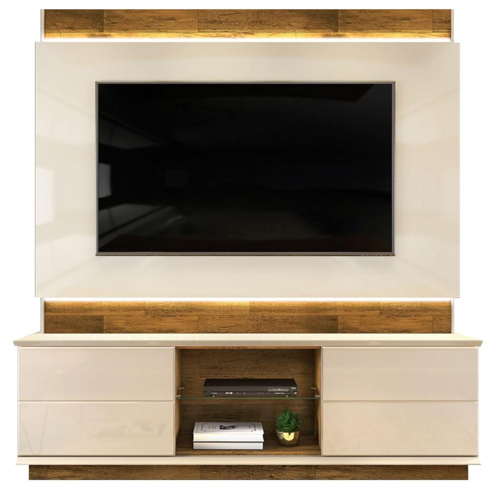Estante Home Theather para TV até 65 Pol. com LED Pollu Creme/Tronco Ripado - Dj Móveis