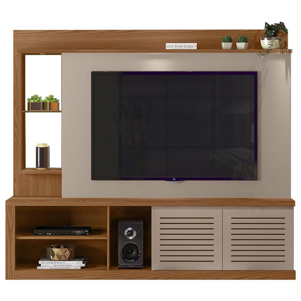 Estante Home Theather TV até 70 Pol. com LED e Espelho Paládio Carvalho Europeu/Amarula - Dj Móveis