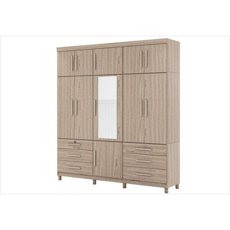 Guarda Roupa Casal Triton Plus com Espelho 11 Portas e 6 Gavetas - Albatroz