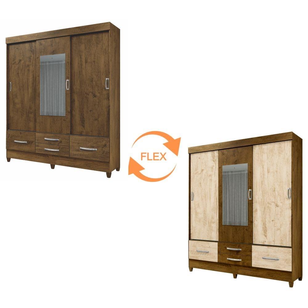 Guarda Roupa Casal Vegas 3 Portas de Correr e Espelho Castanho/Avelã Wood - Moval
