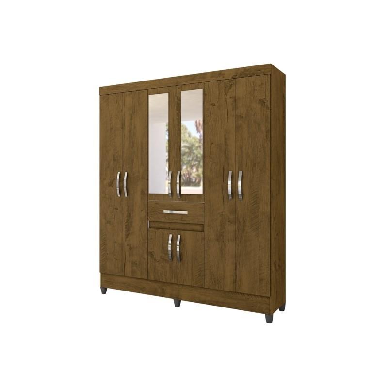 Guarda Roupa de Casal Portugal 08 Portas e Espelho Castanho Wood - Moval