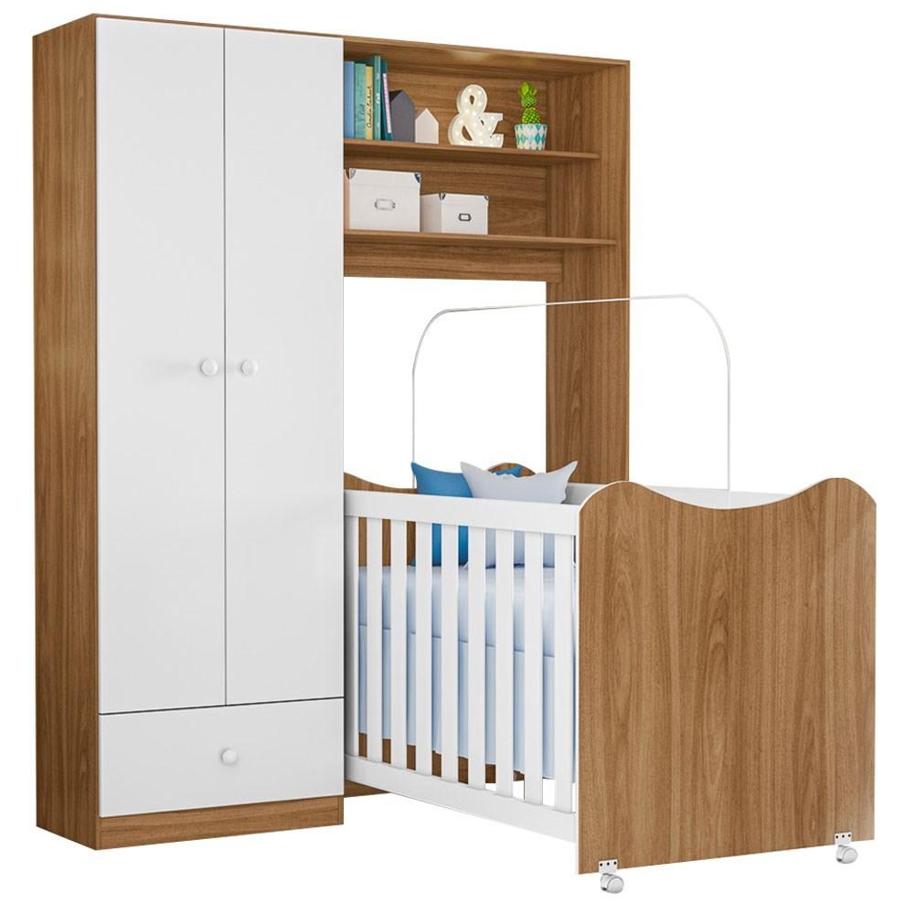 Guarda Roupa Infantil Conjugado 2 Portas com Berço Cristal Nature/Branco - PN Baby