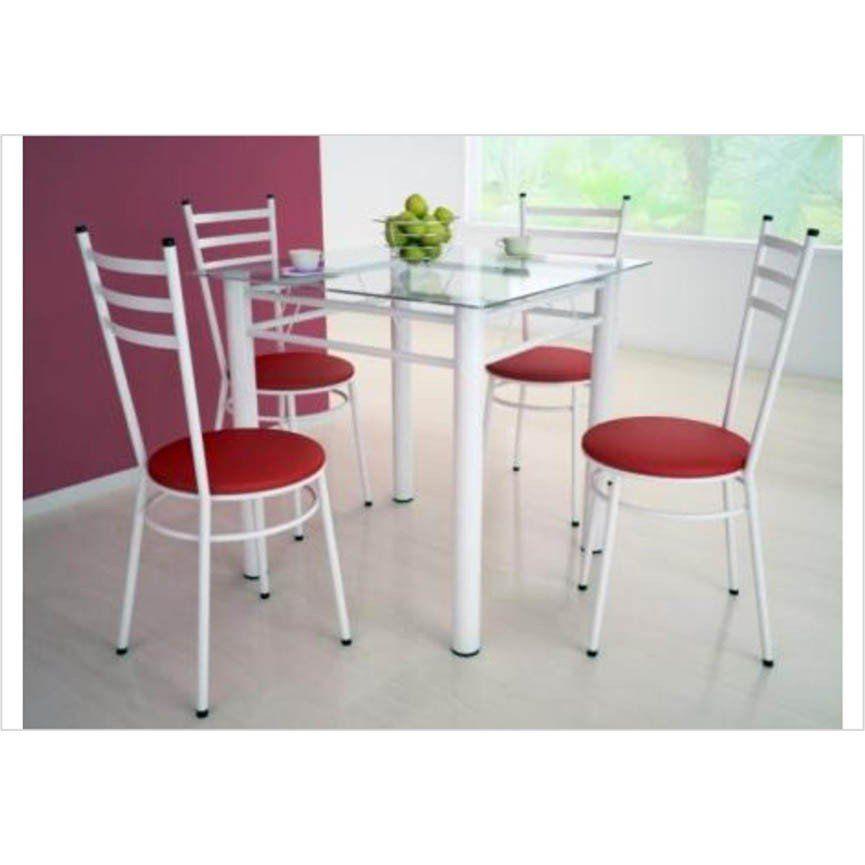 Jogo de Mesa com 4 Cadeiras Tulipa Branco - Marcheli