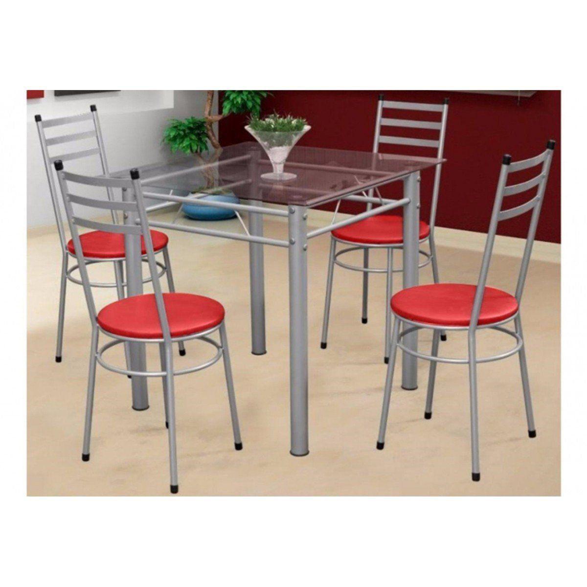 Jogo de Mesa com 4 Cadeiras Tulipa Prata - Marcheli