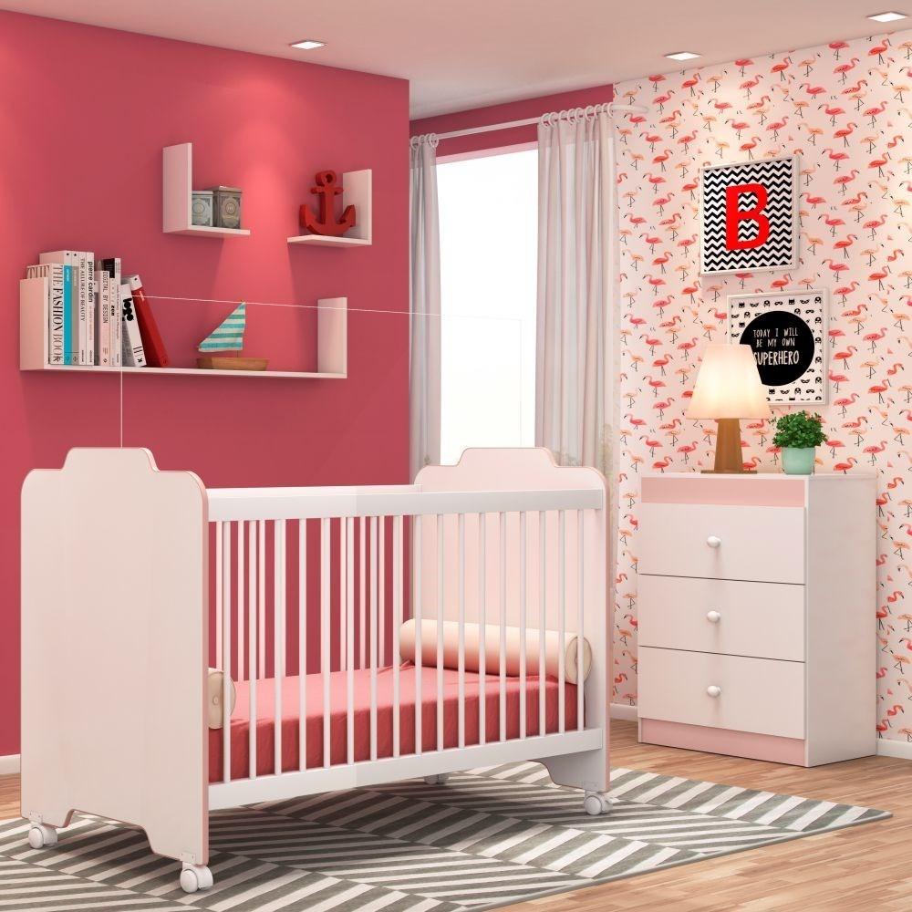 Jogo Quarto de Bebê Cômoda e Berço Ternura Branco/Rosa - PN Baby