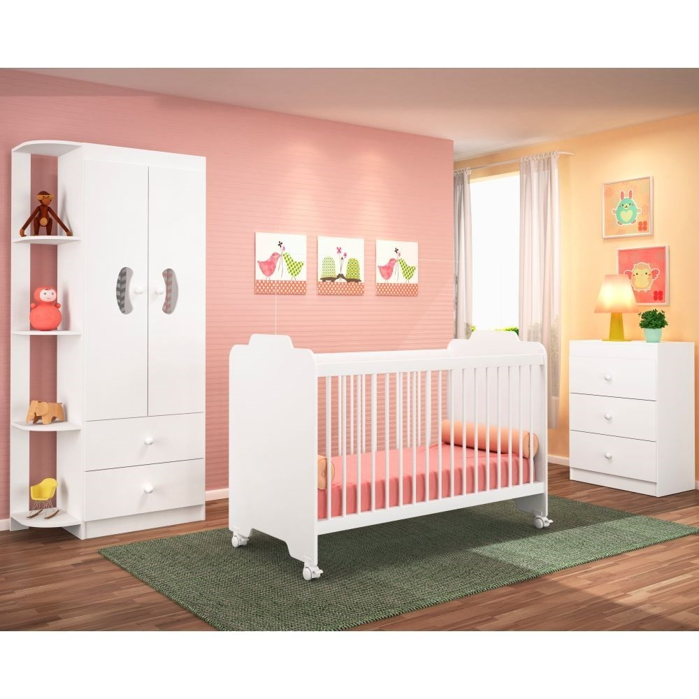 Jogo Quarto de Bebê Completo Ternura Branco - PN Baby