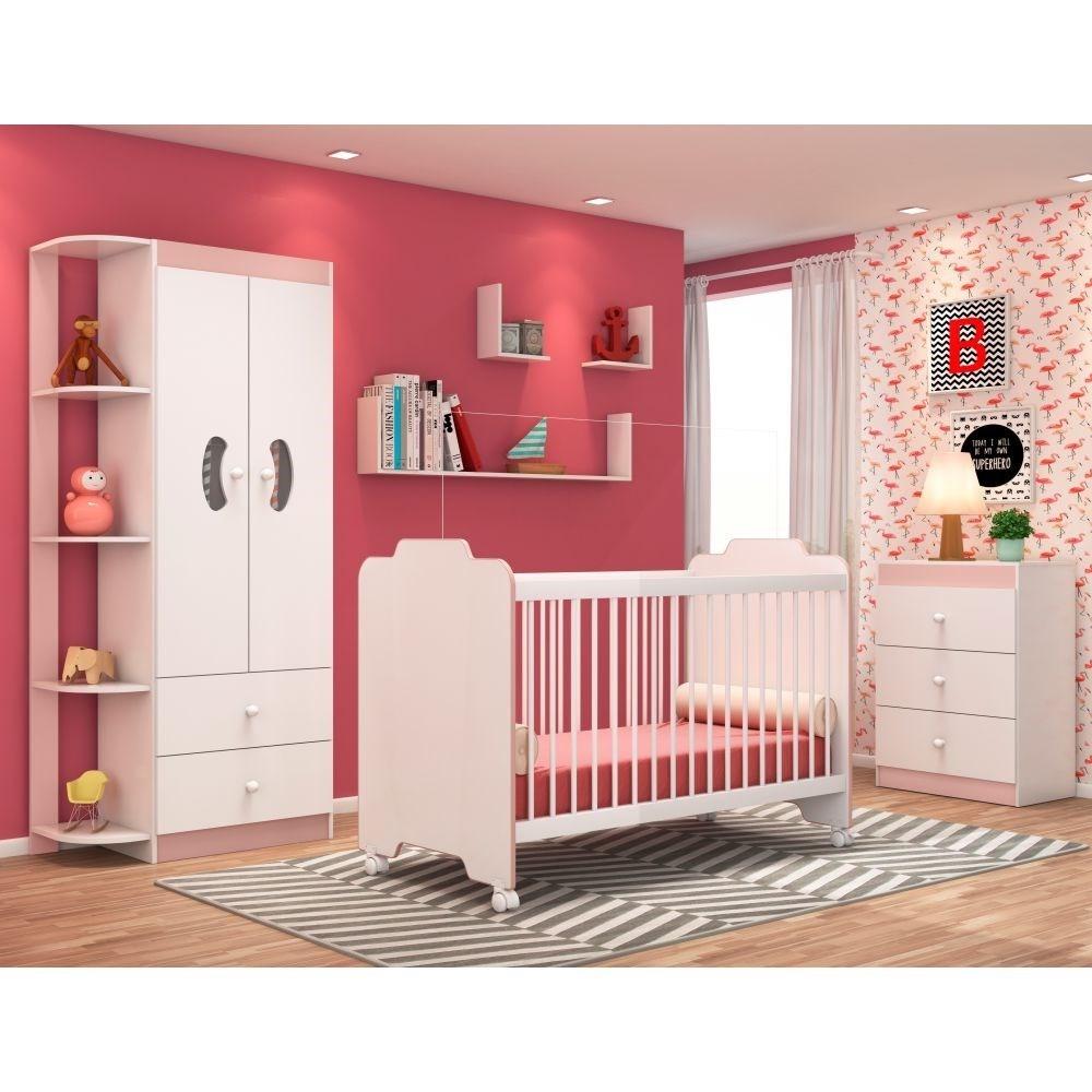 Jogo Quarto de Bebê Completo Ternura Branco/Rosa - PN Baby
