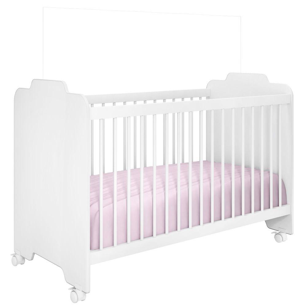 Jogo Quarto de Bebê Completo Vitória e Berço Ternura Branco - PN Baby