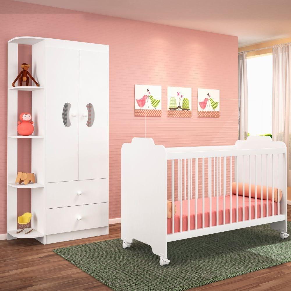 Jogo Quarto de Bebê Guarda Roupa e Berço Ternura Branco - PN Baby