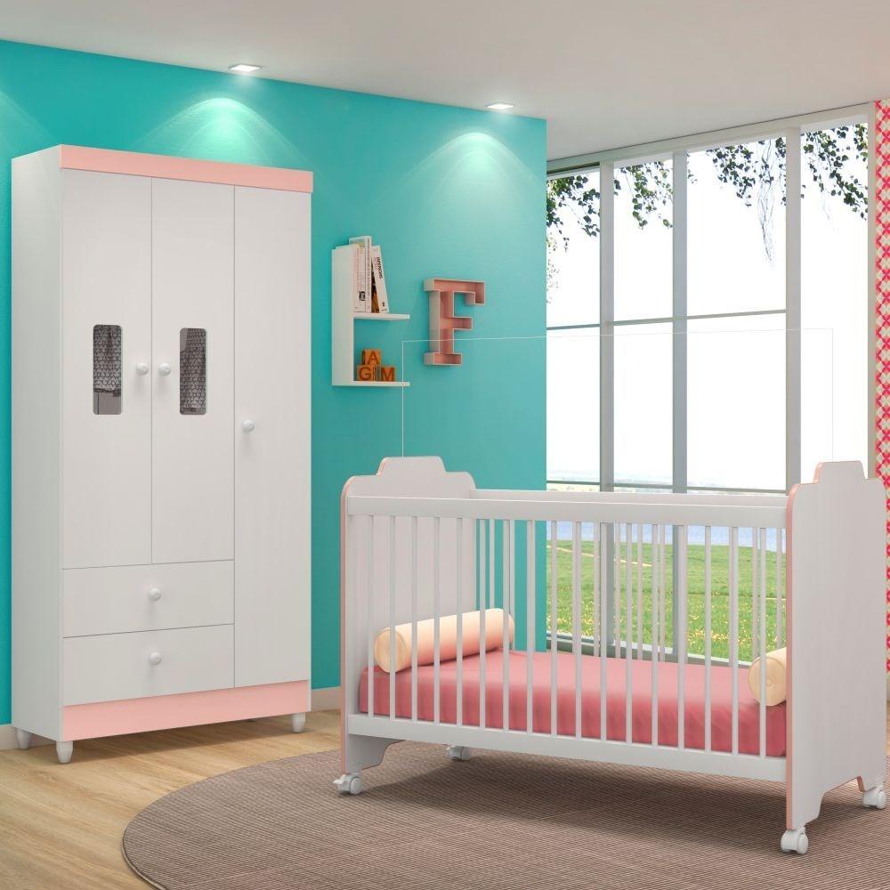 Jogo Quarto de Bebê Guarda Roupa Vitória e Berço Ternura Branco/Rosa - PN Baby