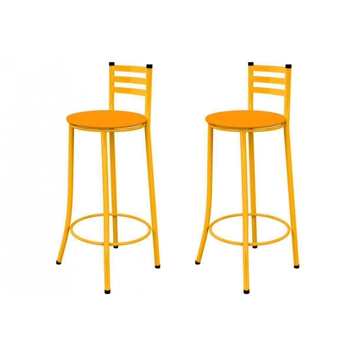 Kit 02 Banquetas Altas com Encosto 86 cm Amarelo - Marcheli