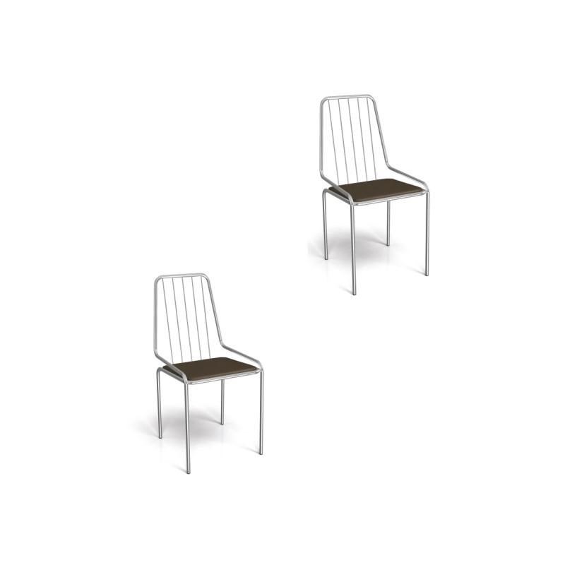 Kit 02 Cadeiras para Cozinha Benim 1C082CR Cromado/Marrom - Kappesberg