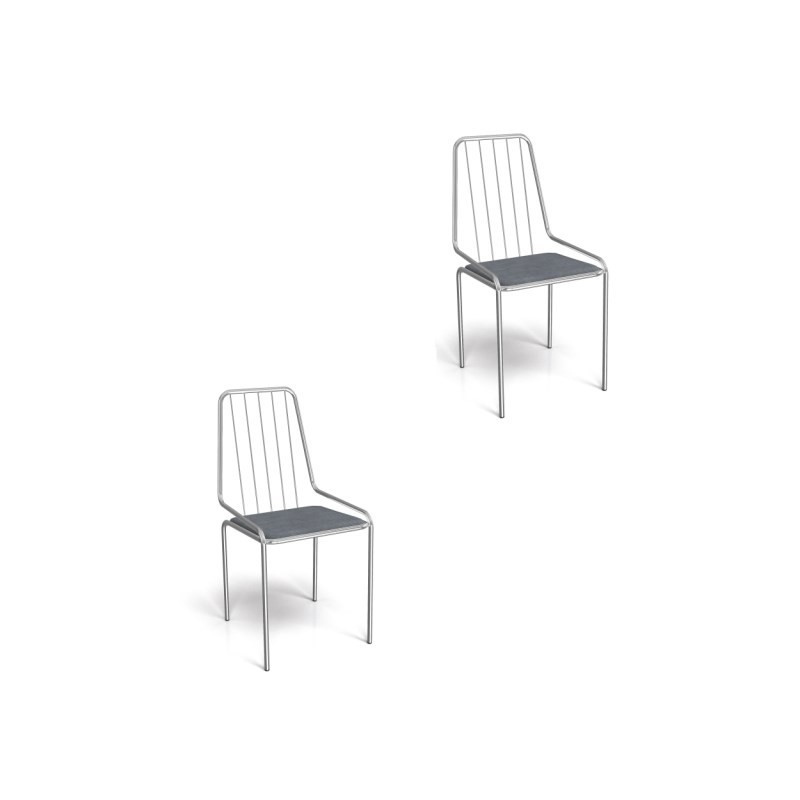 Kit 02 Cadeiras para Cozinha Benim 1C082CR Cromado/Preto Linho Cinza - Kappesberg